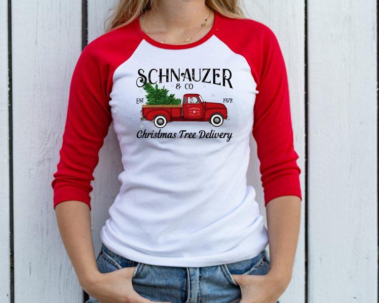 taras schnauzers christmas raglan tshirt