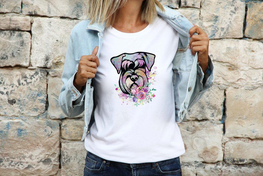 boho-floral-watercolor-schnauzer-tshirt
